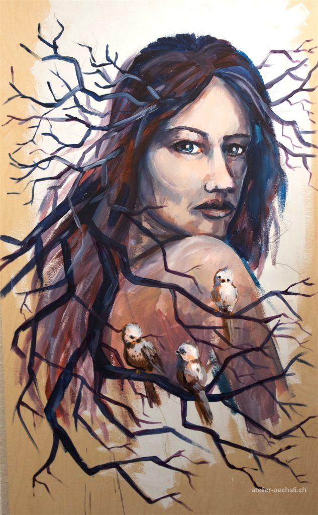 Waldsfrau, Acryl auf Holz, 100cmx50cm, 2015