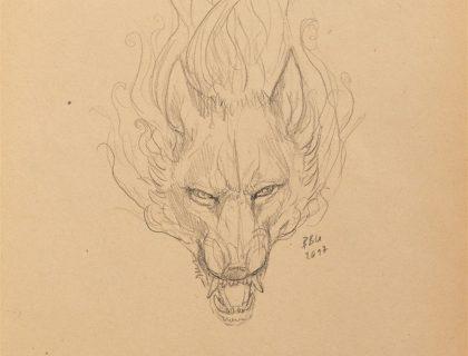 Wolfgeist_knurrender_wolfskopf_Skizze